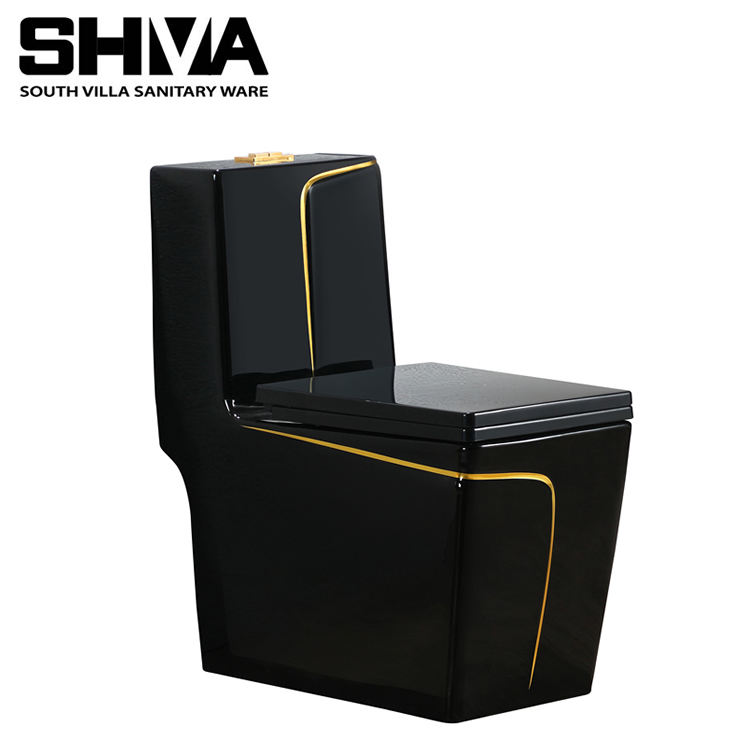 Best Selling One Piece Toilet Square Shape Toilet Wash Down Flush Black Gold Colored WC Bowls