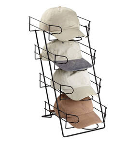 Multifunction 4-Tier Home Countertop Cap Metal Holder Hat Display Stand Hat Rack Organizer