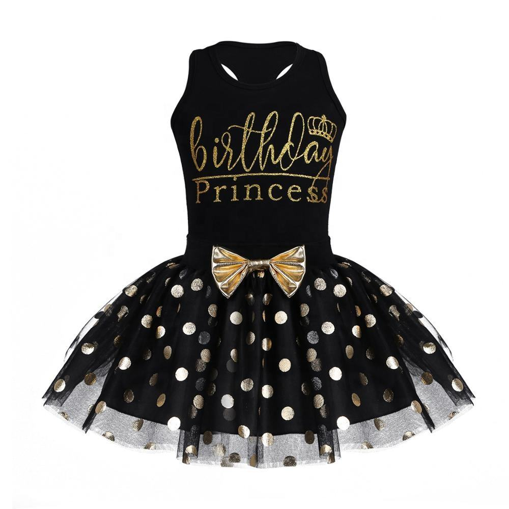 Baby Girls Clothing Set Child Birthday Princess Dress Sleeveless Tops With Polka Dots Skirt For Kids 12 Months-6 Years