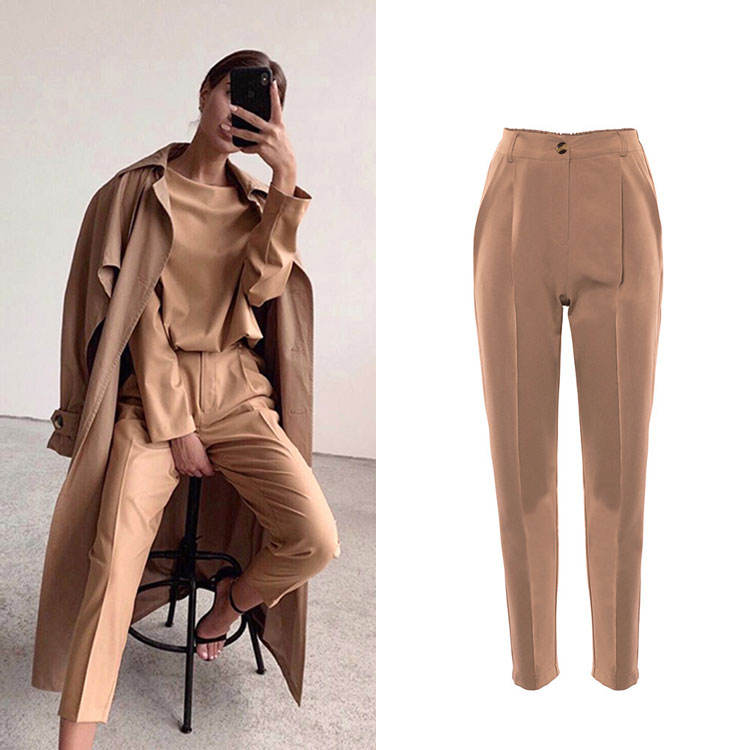 Popular Style Wholesale Casual High Waist Khaki Pants Basic Type Brown Ladies Solid Women Pencil Pants for Autumn Winter
