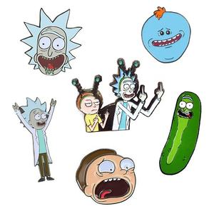 Gratis Monster Aangepaste Black Metal Rick En Morty Emaille Pin Badge