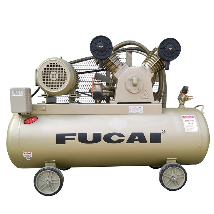 FUCAI long working life 3HP 2.2KW 8bar 90L air tank belt driven portable oil free piston compressor