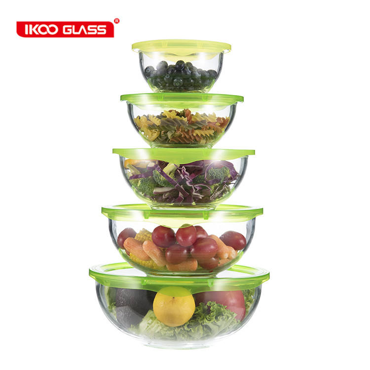 Hot selling high borosilicate heat resistant glass mixing bowl salad bowls with lid