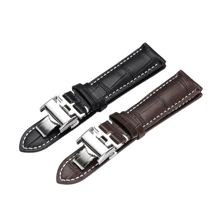 Low Moq [ Straps ] Wholesale Custom Butterfly Buckle Handmade Watches Bands Straps 19/20/21 Mm LQ IWC Watchband Genuine Leather Watch Bands