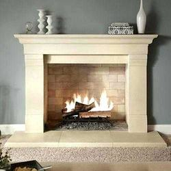 Modern Design Home Decoration Beige Marble Fireplace Mantle