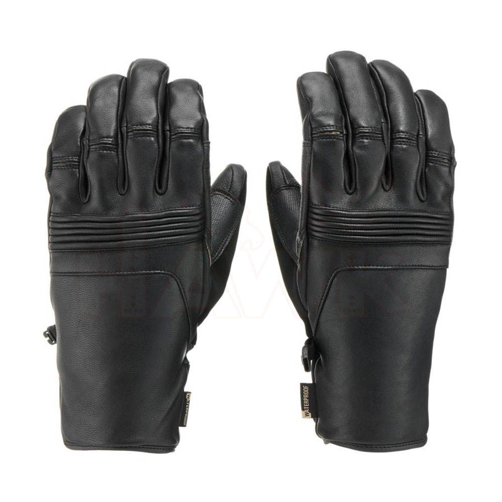 Waterproof Breathable Snowboard Leather Ski Gloves / Windproof Men's Ski Gloves For Cold Weather