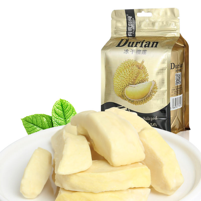 bag pack 100% natural crispy freeze dried durian slice shape