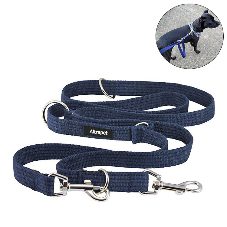 "1"" Wide 6-Way European Multi-Functional luxury Dog Leash tactical , Adjustable Durable Pet Dog Long leash 100% cotton lead"