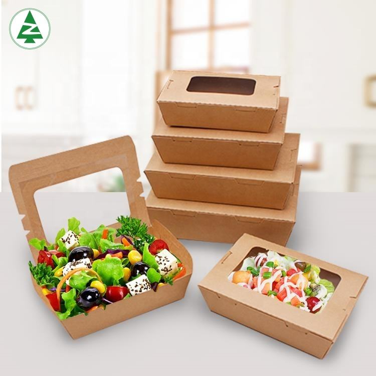 Eco friendly custom packaging take out container cupcake boxes takeaway food packaging box with windows