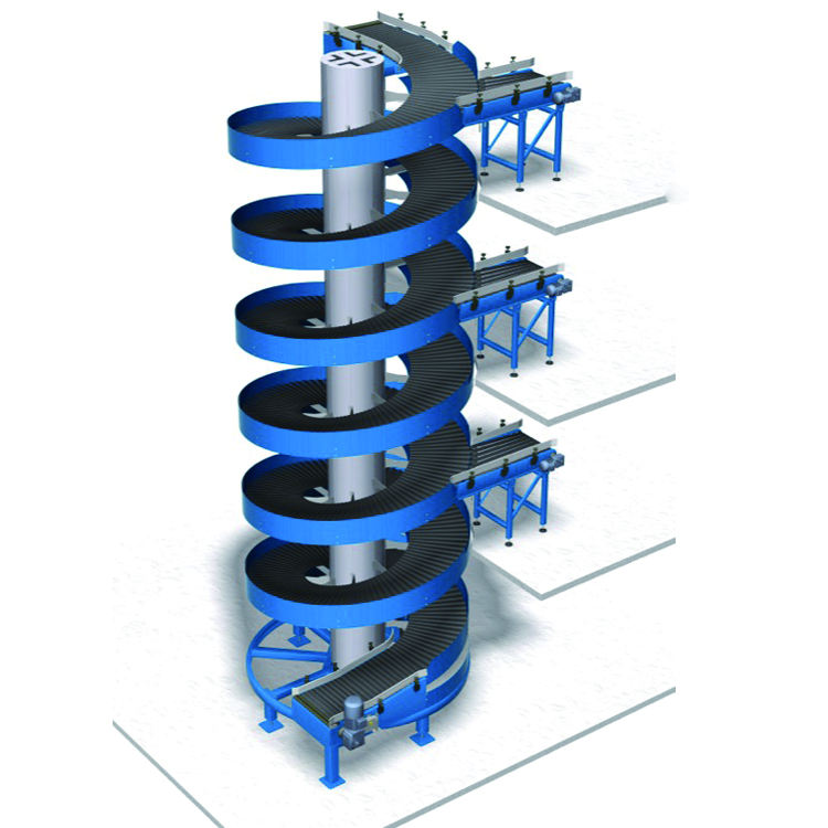 cartons vertical transfer customized motorized spiral chain conveyor