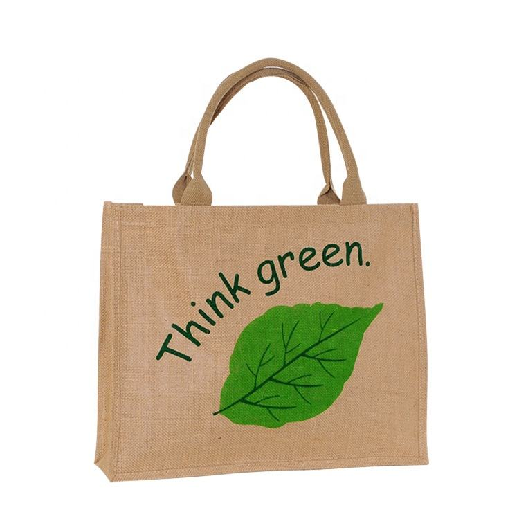 wholesale 100pcs/lot custom printed logo reusable foldable Jute shopping bags BurlapJute Linen grocery tote bag for ads