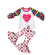 hot sell autumn valentine's day boutique clothing christmas red heart pattern children's suit Little Girls solid ruffle top set