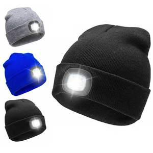 USB Rechargeable LED Headlight Winter Thermal knitted Lighted Skully Beanie Hats Tuque with head torch lamp