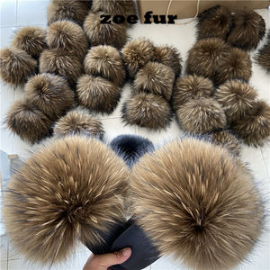 2020 NEW Fashion real fur slides wholesale women raccoon fox fur slippers furry outdoor sandals
