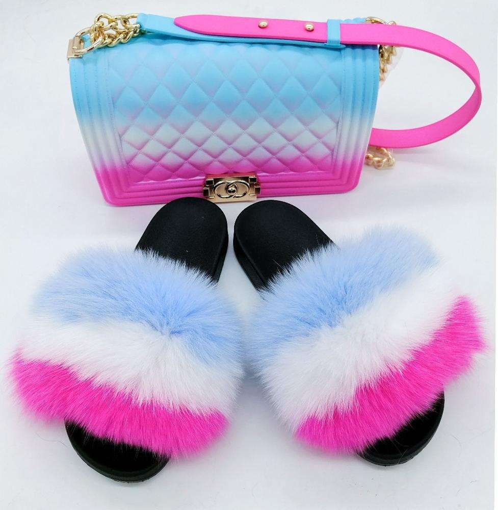 Pvc Slides Raccoon Fur Slippers Women Soft Real Fox Fur Slides