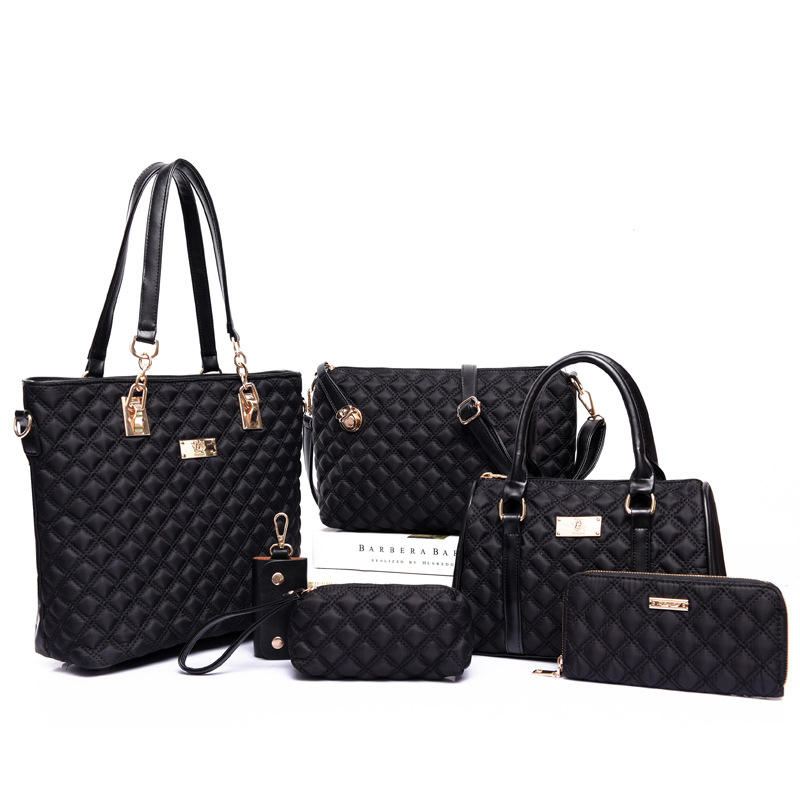 6 Pcs / Set Fashion Women Composite Bags Shoulder Bag Wallets Purse Key Bag Set Print Diamond Lattice PU Leather Handbag