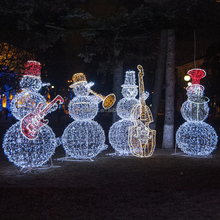 Outdoor 3D LED lighted snowman band commercial Christmas light displays characters for commercial winter festival displays