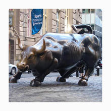 Large Modern bronze Bison Sculptures brass wall street bull for garden decoration