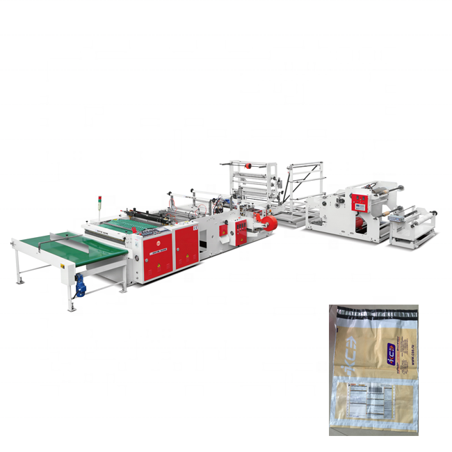 Automatic polyethylene PP BOPP plastic bag machine with adhesive tape hot sealing device DHL Courier Express bag making machine