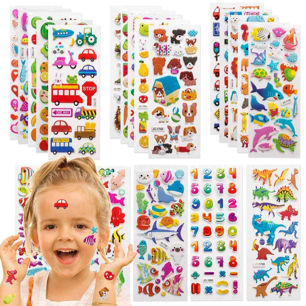 3D Puffy Stickers for Kids sticker, Bulk Stickers for Girl Boy Birthday Gift sticker, Toddlers Including Animals Stars sticker