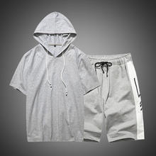Men's two-piece sweat suit 2020 summer short sleeve trend hooded casual shorts sets tracksuit for men