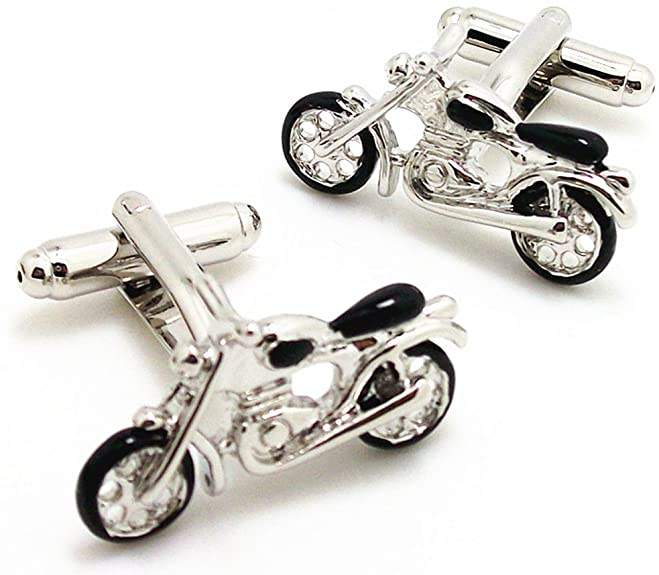 MenのRhodium Plated Enamel Cufflinks Silver Black Motorcycle Bike