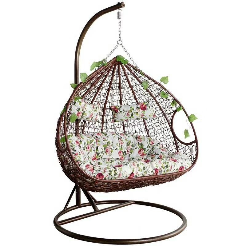 Egg chair hanging chair swing outdoor garden adult double patio swings hanging chairs with cushion