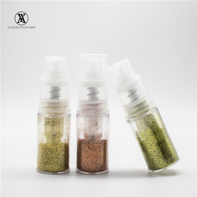 Empty plastic 14ml glitter dust pump bottle powder spray bottle with pump for cake decorating