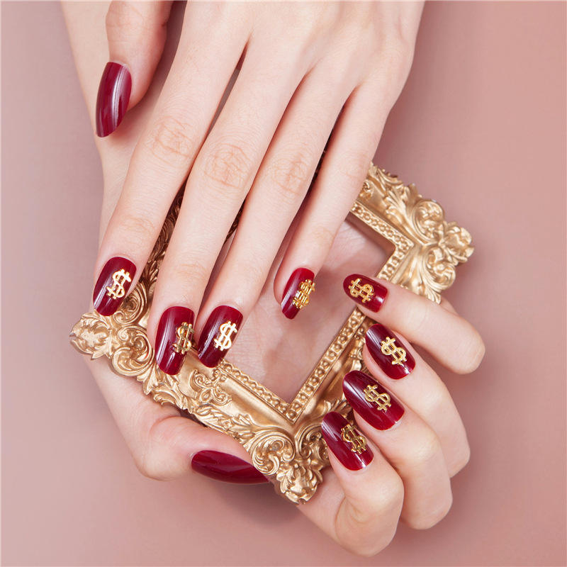 24pcs New Arrival Wine Red Dollar Shape Finished UV False Nails Leopard Glitter Pattern Artificial Nails Press On Nails