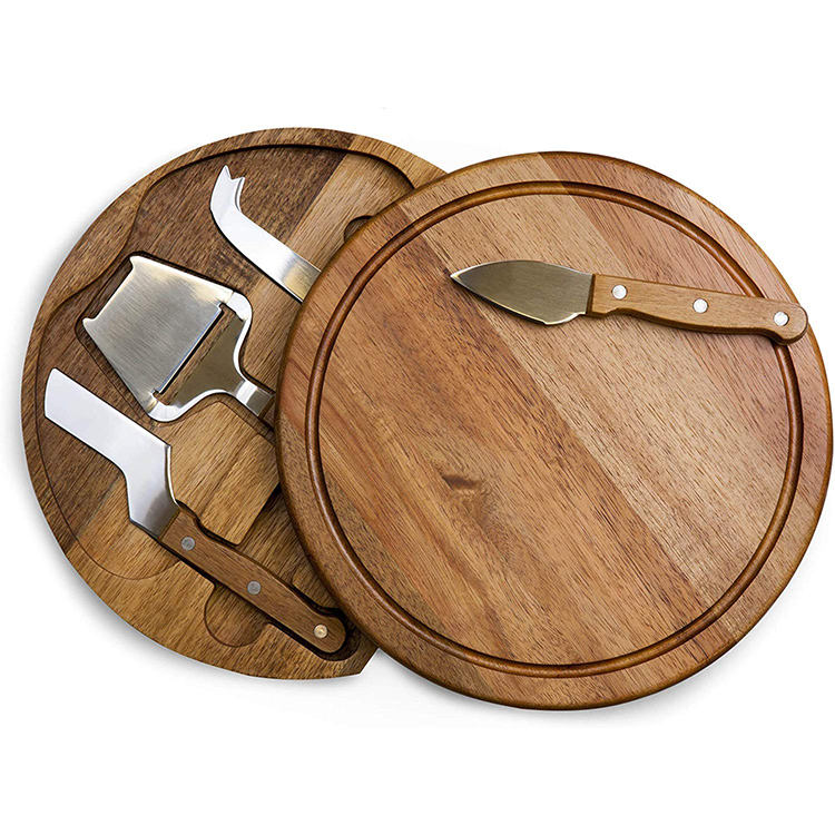 Classic Mini Black Round 4 Piece Knife Swivel Cover Acacia Wood Cheese Board with Tool
