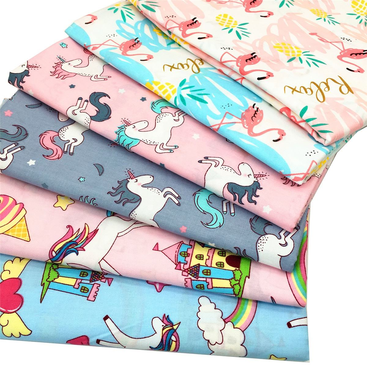 Unicorns,Rainbow Horse, Flamingos 100% Cotton Fabric Printed Quilting Fabric Cartoons Twill Fabric for Textile Pillows