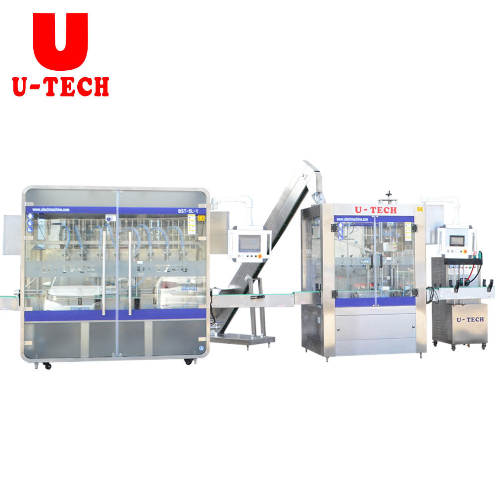 Automatic1-5L piston HDPE bottle jar pail motor lube engine oil liquid filling sealing machine