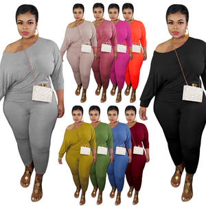 LF-561 Plus Size Womens Clothing 2021 Long Sleeve Womens 2 Piece Outfits Clothing Summer Sexy Pants Plus Size Two Piece Set