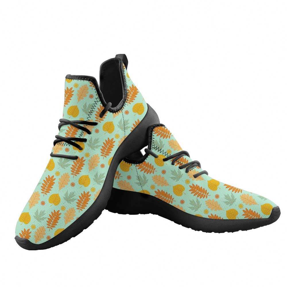 Cheapest Price Yellow Leaf Printed Sports Shoes Basketball Men Adult Trending Sneakers Custom Make