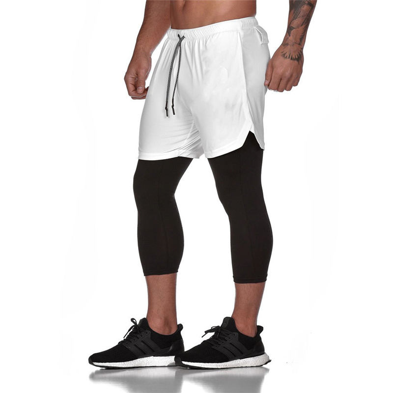 Joggers Sweatpants New Men's 2 in 1 Skinny Pants Short leggings Double layer Sportswear Male Gyms Fitness Quick dry Track Pants