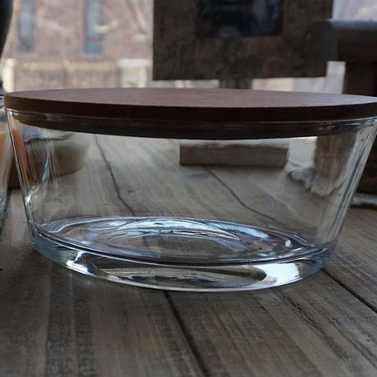 Clear Woodwick ellipse/boat/large Glass Candle Holder with Lids for Scented Candle