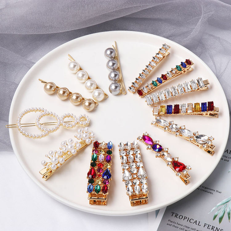 Korean Ins colorful rhinestone diamond custom pearl word Letter X gold bb hair snap clip accessory set wholesale for girl women