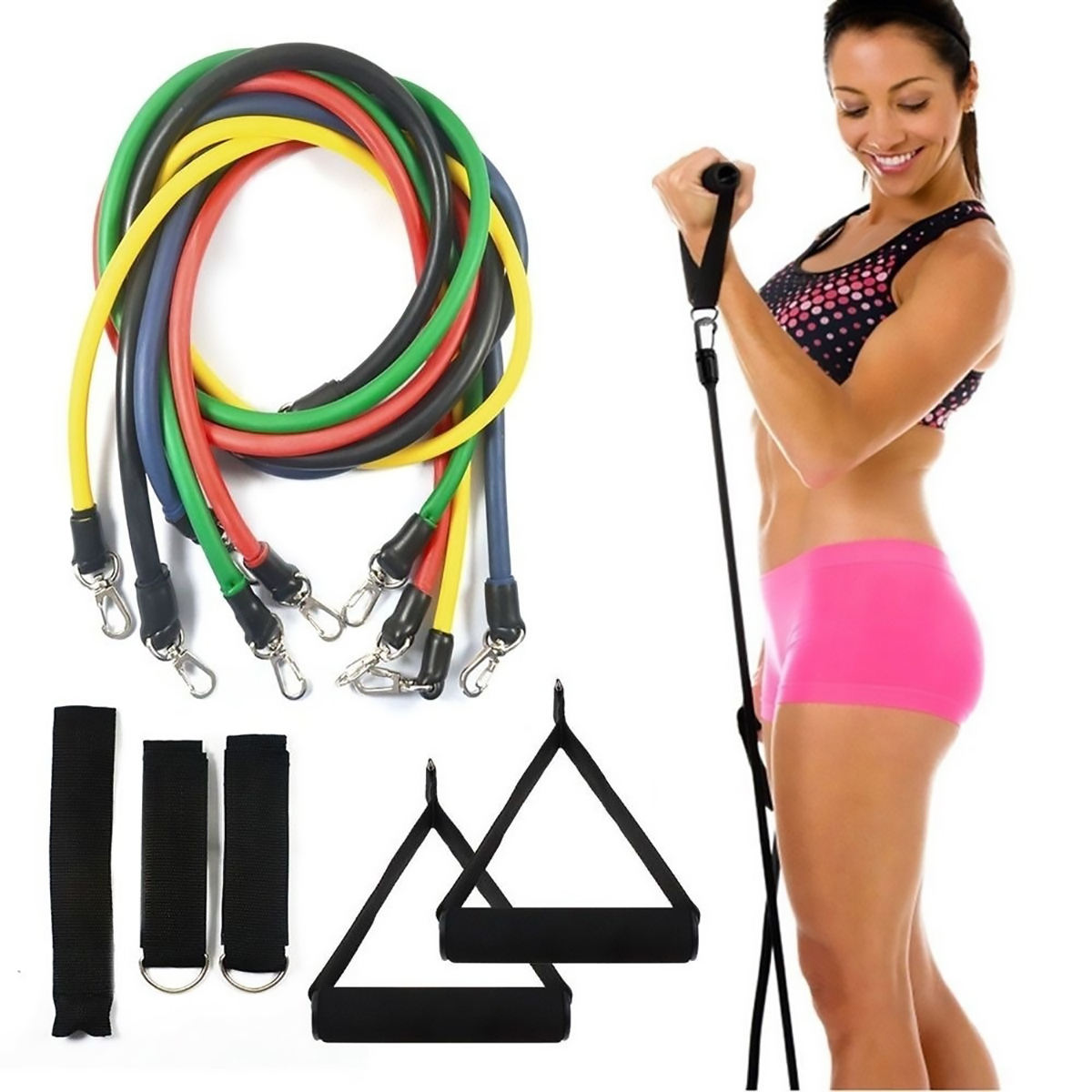 11 Pcs Custom Logo Training Gym Fitness Men Ankle Straps Arm Leg Exercise Tpe Tube Resistance Bands Set