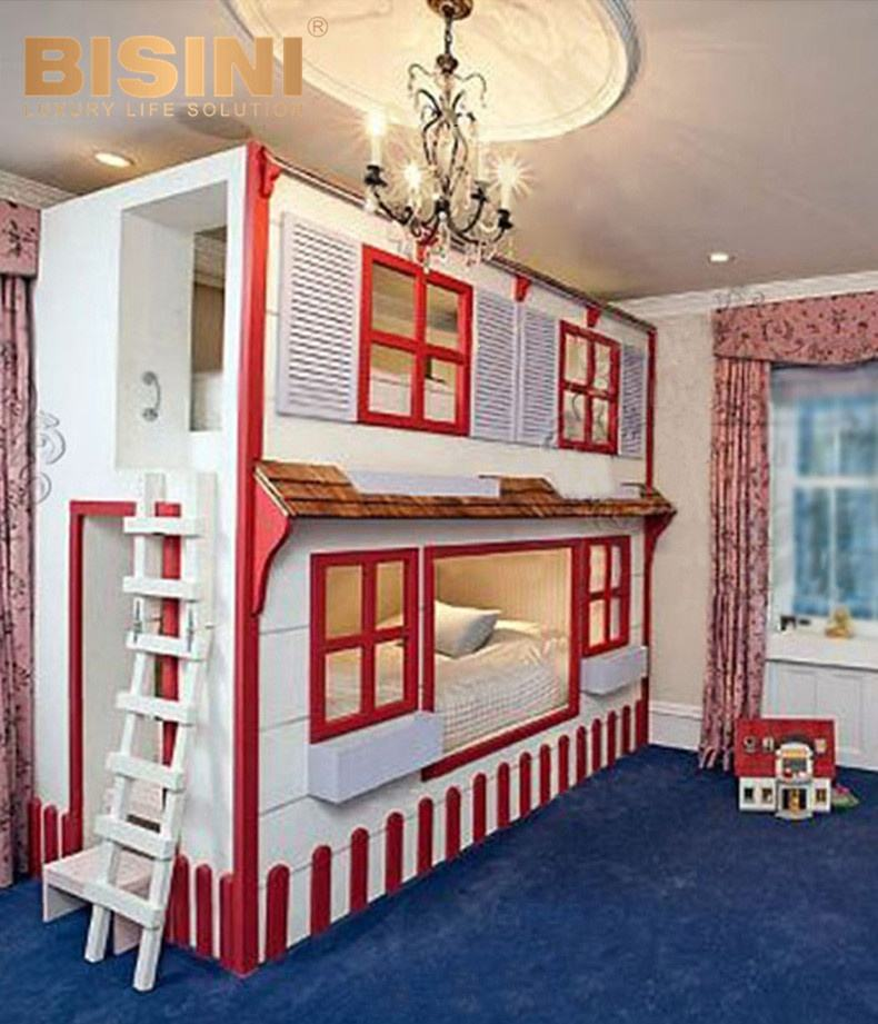 Kids Boy Playhouse Bedroom Furniture Solid Wood Red House Bunk Bed With Slide