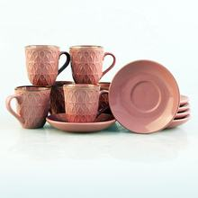 3oz Color Glazed Ceramic Stoneware Coffee Tea Cups and Saucers Sets