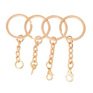 Promotional Rose Gold Metal DIY Split Key Ring with Chain Keychain Ring Parts Split Key Ring With Open Key Chain key buckle