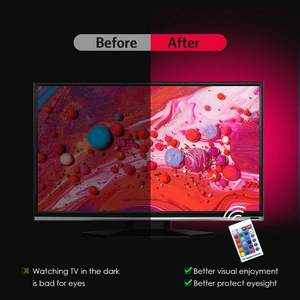 TV 40-60inch - 6.56ft 1-5M 3#waterproof IP20/65 Remote Controlled TV LED Backlight 16 Color Changing RGB LED Strip Lights