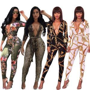 Wholesale printed long-sleeve jumpsuit nightclub women fashion formal black snake skin jumpsuit