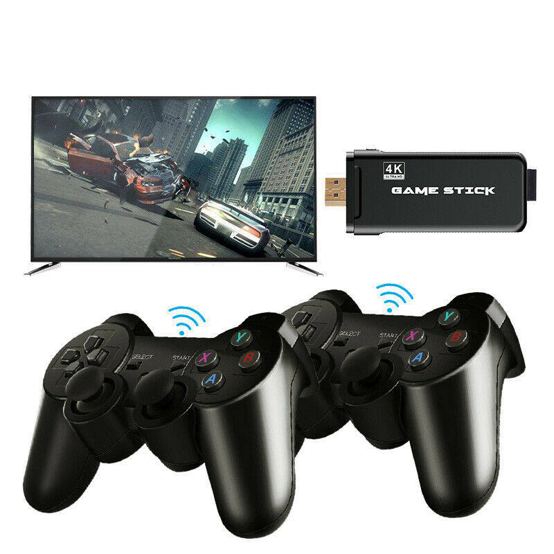 Konsol Video Game Retro Ultra HD 4K, Konsol Stik Video Game Antiselip, 3000 Game Klasik Retro dengan Pengontrol Nirkabel Ganda untuk TV