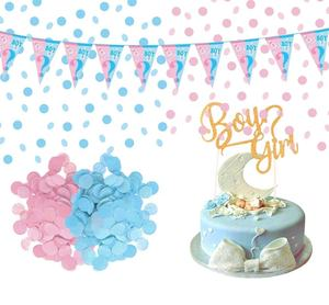 Gender Reveal Party Supplies Tableware Set Plates Spoons Forks Napkins Tablecloth Balloon Banner Baby Shower Party Supplies Kit
