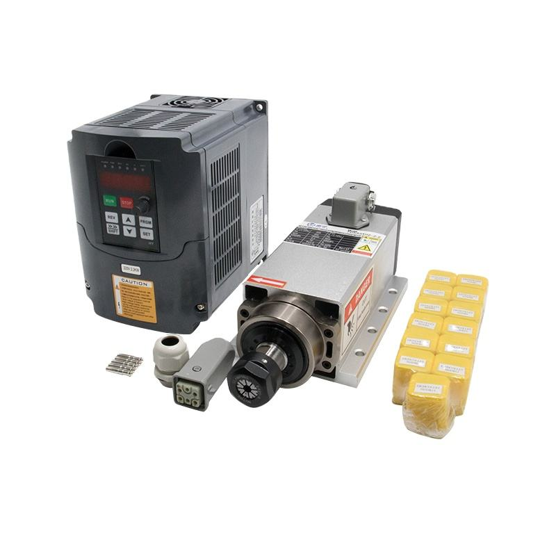 Overseas warehouse Ru ES 2.2 kw 220v/380v Air cooled square spindle + HY VFD + ER20 Collet for CNC router