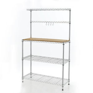 ASSMILE 3-Tier Chrome Bakers Wire Rack With Moveable Wooden Top Kitchen Organizer Rack Microwave Oven Wire Shelf Storage Rack
