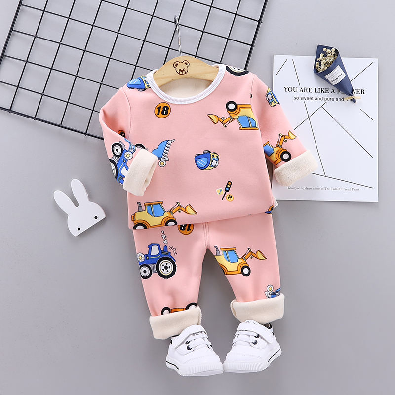 Children Sets 2020 Winter Kids Thermal Underwear Solid O-Collar Children's Warm Suit Clothes Baby Girls Pajamas