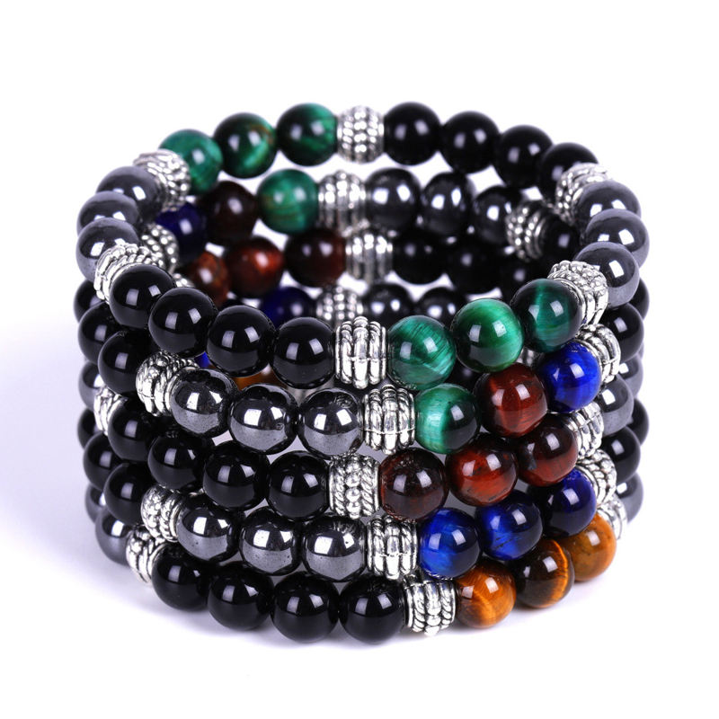 Trade Insurance Natural Stone Yoga Hematite Black Onyx Colorful Tiger Eye Buddha Head Bracelet