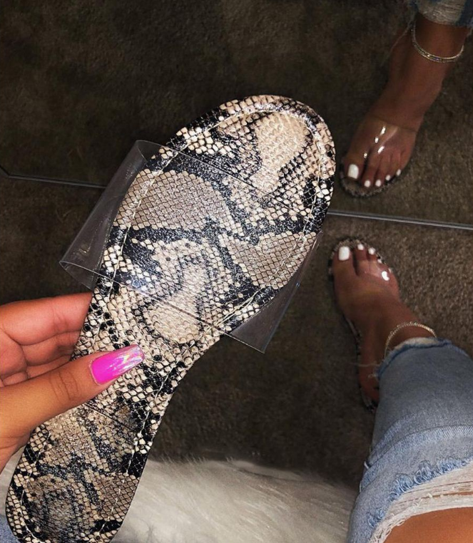 Hot sell fashionable sandals snake skin flat slippers for women sandals flat